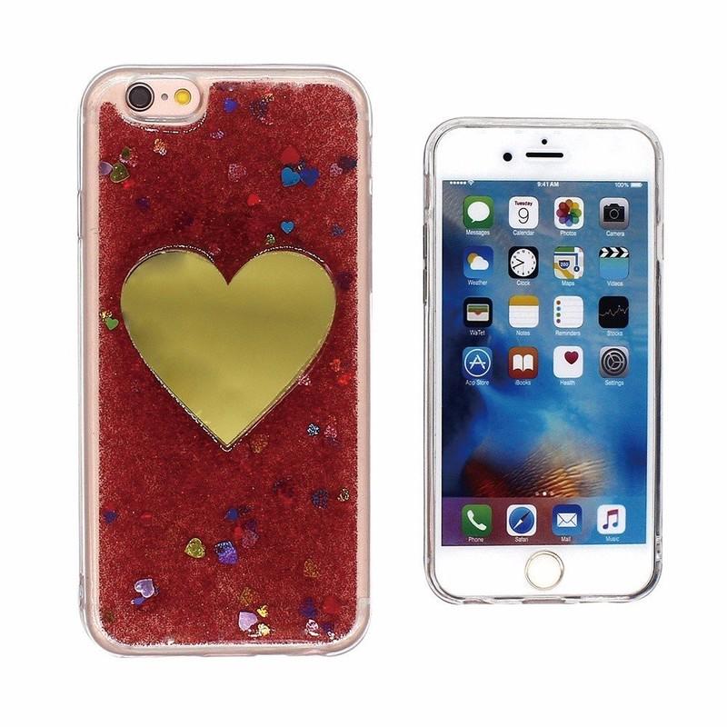 Caja protectora TPU de oro del corazón para el iPhone 6