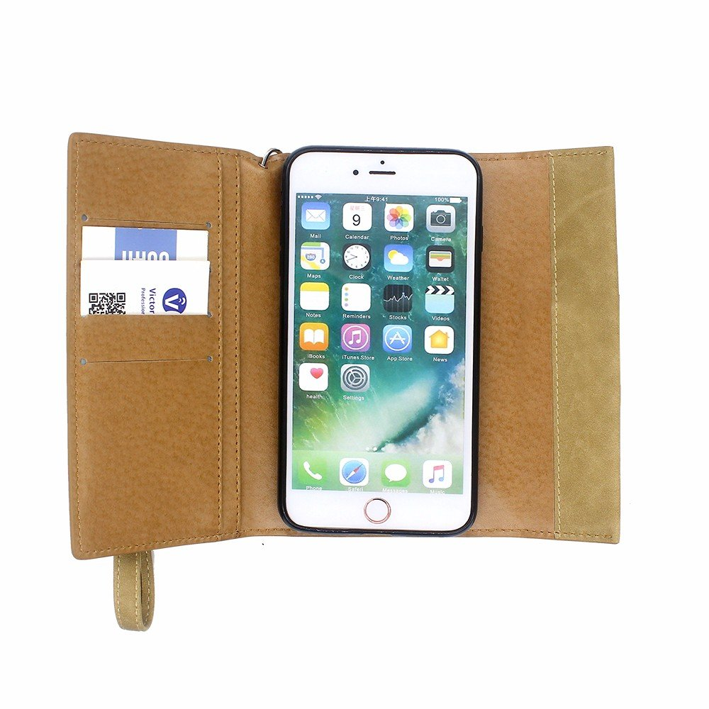 Wallet Leather Case for iPhone 7 Plus with Strap