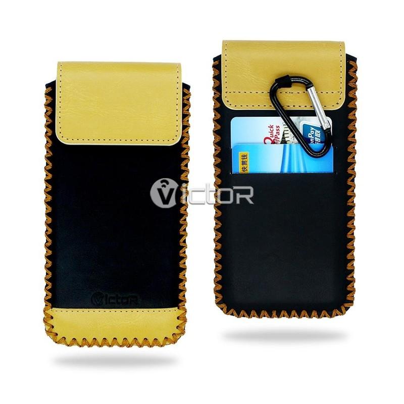 Victor VI-LC-019 resbalón Estuche universal de cuero con mosquetón y ranura de la tarjeta