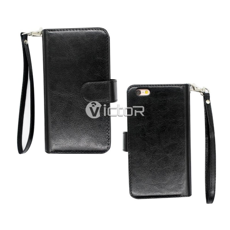 Victor PU Zipper Leather Case for iPhone 6 Plus
