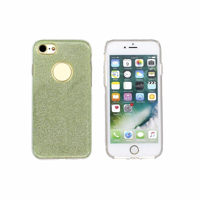 3 en 1 TPU teléfono caso para el iPhone 7 con papel brillante de polvo