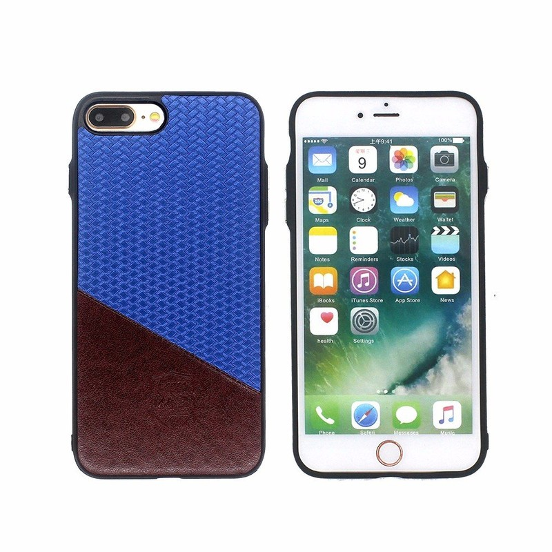 Protector Case for iPhone 7 Plus Pasted with Hit Color Leather