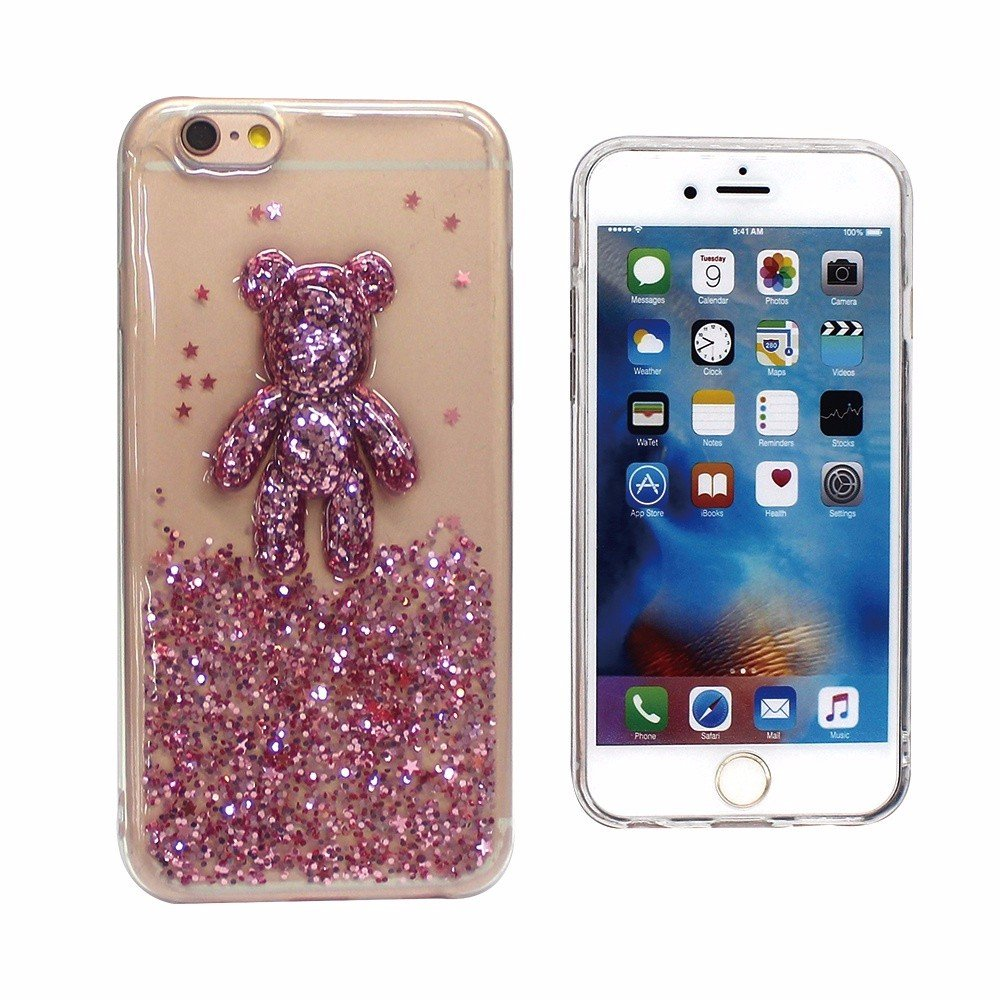 3D Bear Glittering TPU Case for iPhone 6