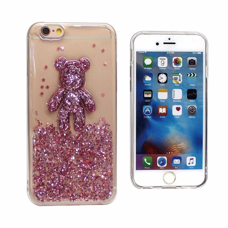 3D Bear Glittering TPU Case for iPhone 6