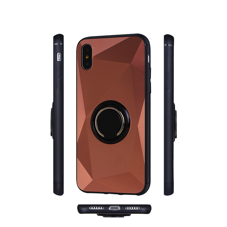 Mobile Phone Case for iPhone XS with Metal Sticker Ring Holder Kickstand