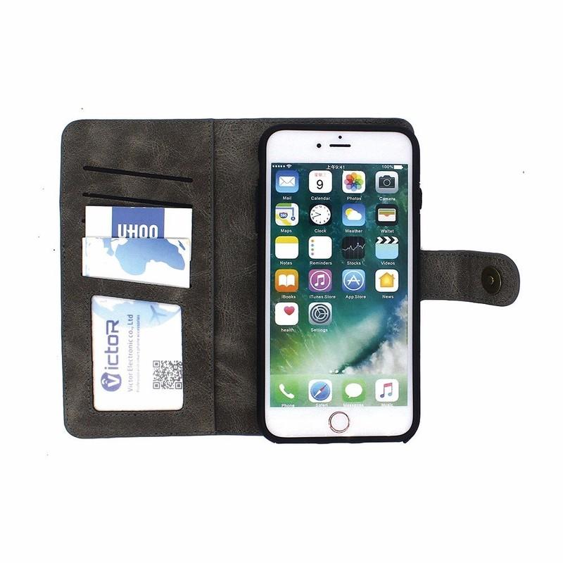 Cartera de piel de cuero caso para el iPhone 7 más con el titular de la tarjeta