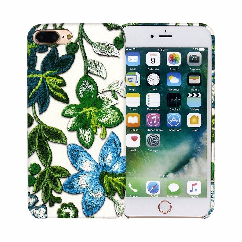 3D Embroidery Nice iPhone 7 Plus Leather Case