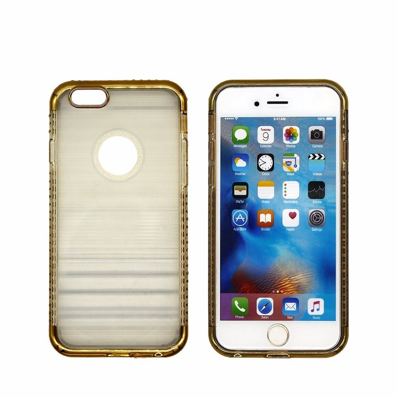 Half Clear TPU iPhone 6 Case with Diamond Bumper