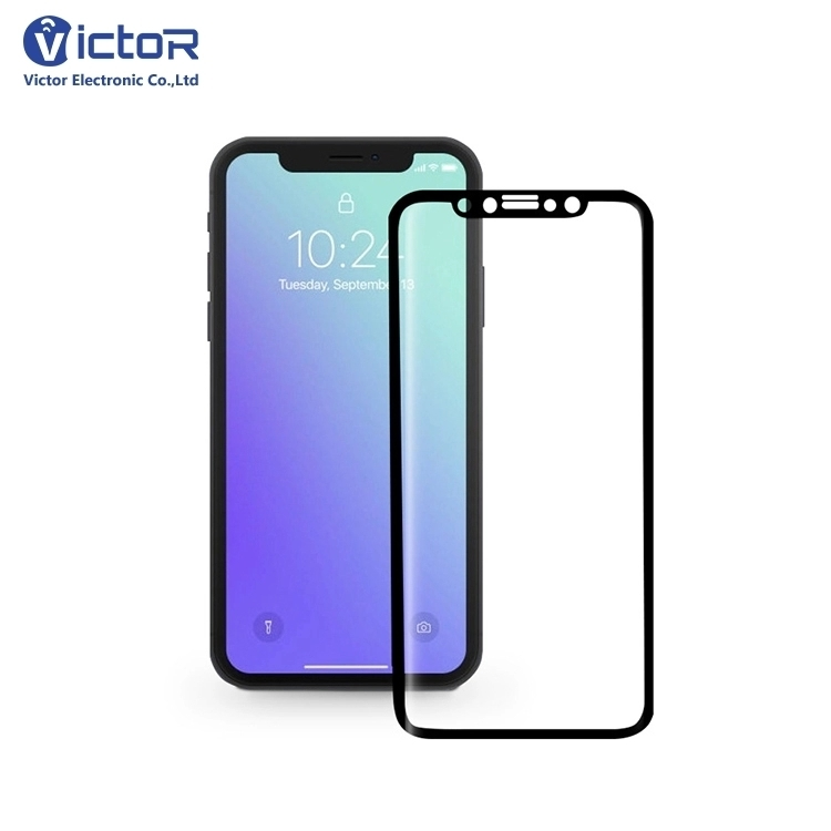 Black Cold Carving 5D Tempered Glass Screen Protector for iPhone X
