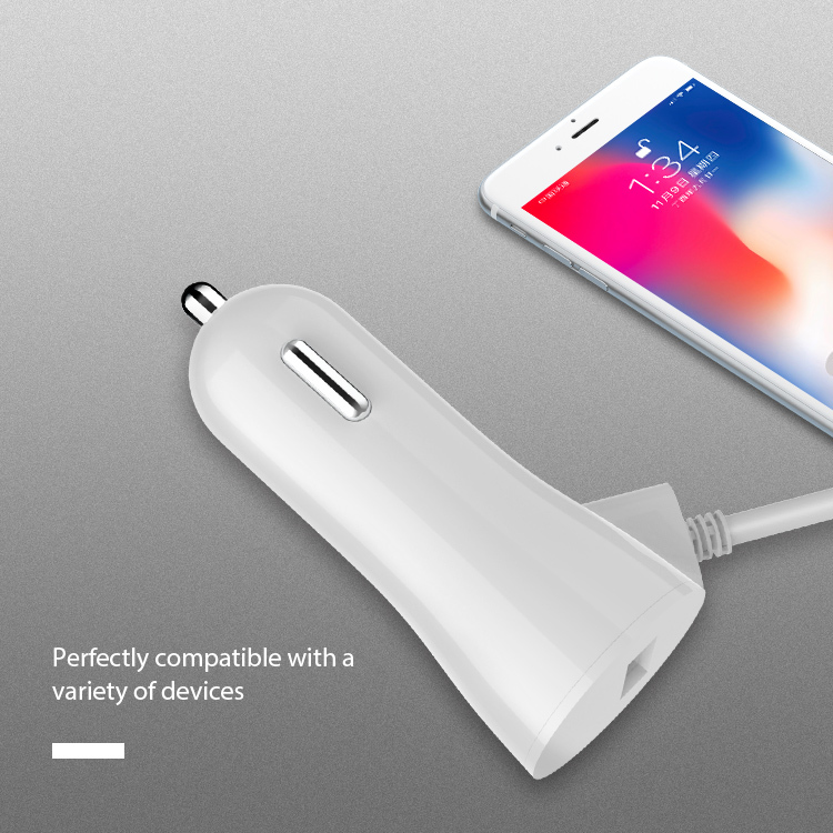 Mocel USB Fast Car Charger with Cable for iPhone X XS XR
