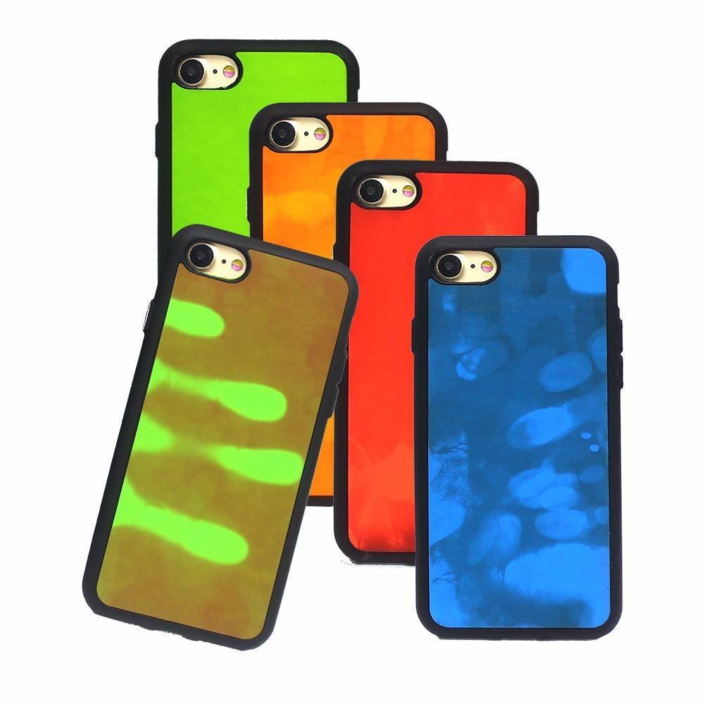 Heat Sensing Bicolor Paste Leather Case for iPhone 7