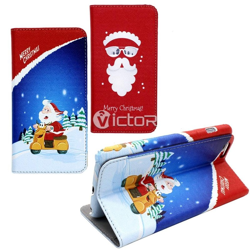Victor PU Christmas Series Flip Mobile Phone Cases for iPhone 6