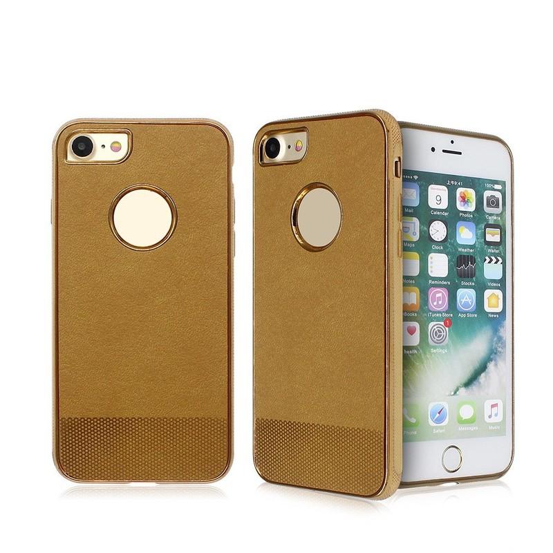 IPhone galvanizado 7 caso TPU pegado con cuero