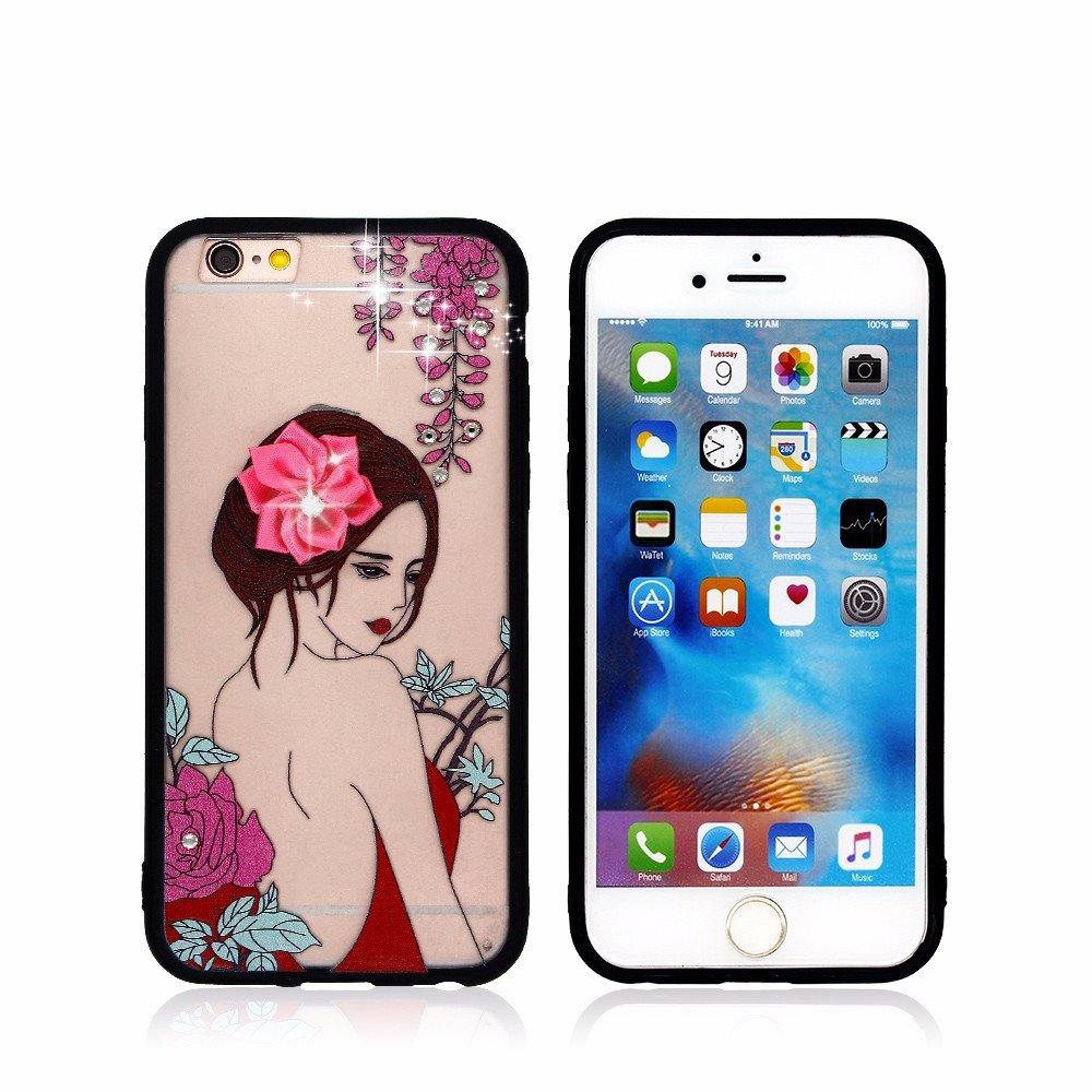 Diamond Decor Pretty PC iPhone 6 Case with TPU Bumper