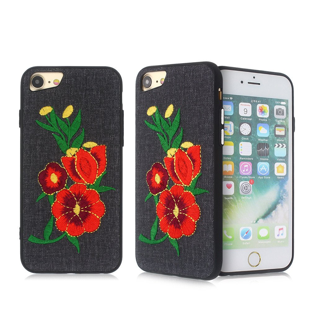 Paste Leather iPhone 7 Slim TPU Case with Embroidery Decoration