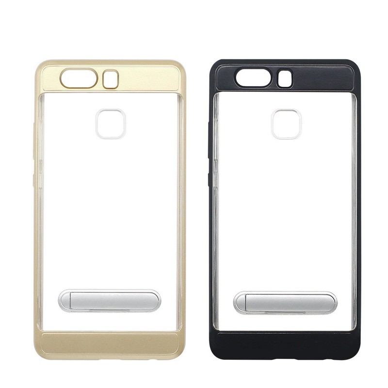 PC Bumper Clear TPU Phone Case for Huawei P10 with Kickstand