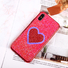 Bling Plating iPhone X Leather Sticker Case With Heart Shape Mirror
