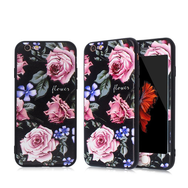 Embossed Pretty Apple iPhone 6 Case and Glass Screen Protector