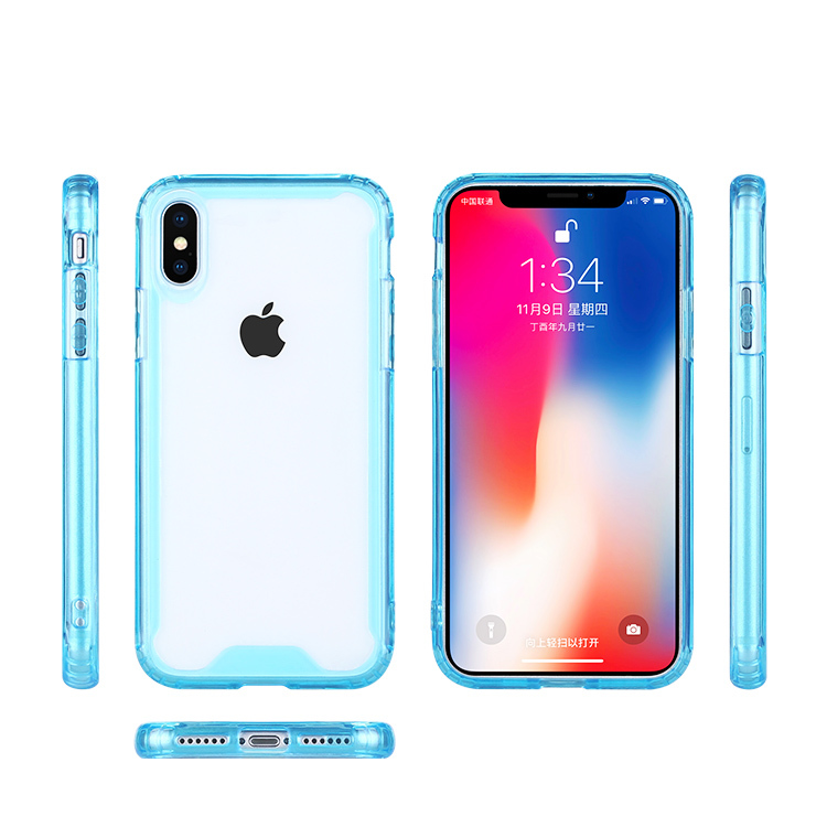 TPU and Acrylic Hybrid Crystal Clear Case for iPhone XS Case in Stock