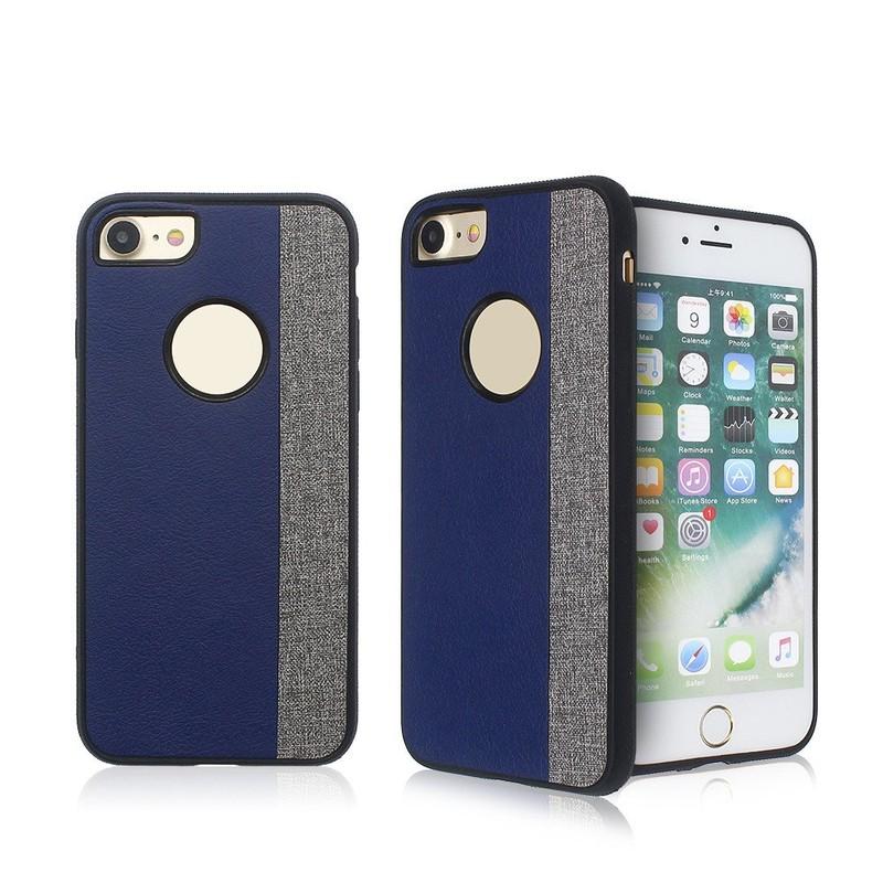 Slim iPhone 7 TPU Funda con la espalda de cuero empalmados