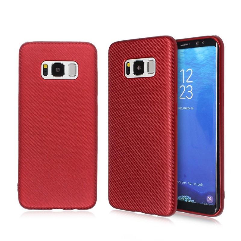 Caucho TPU de carbono caso de teléfono de fibra para Samsung S8