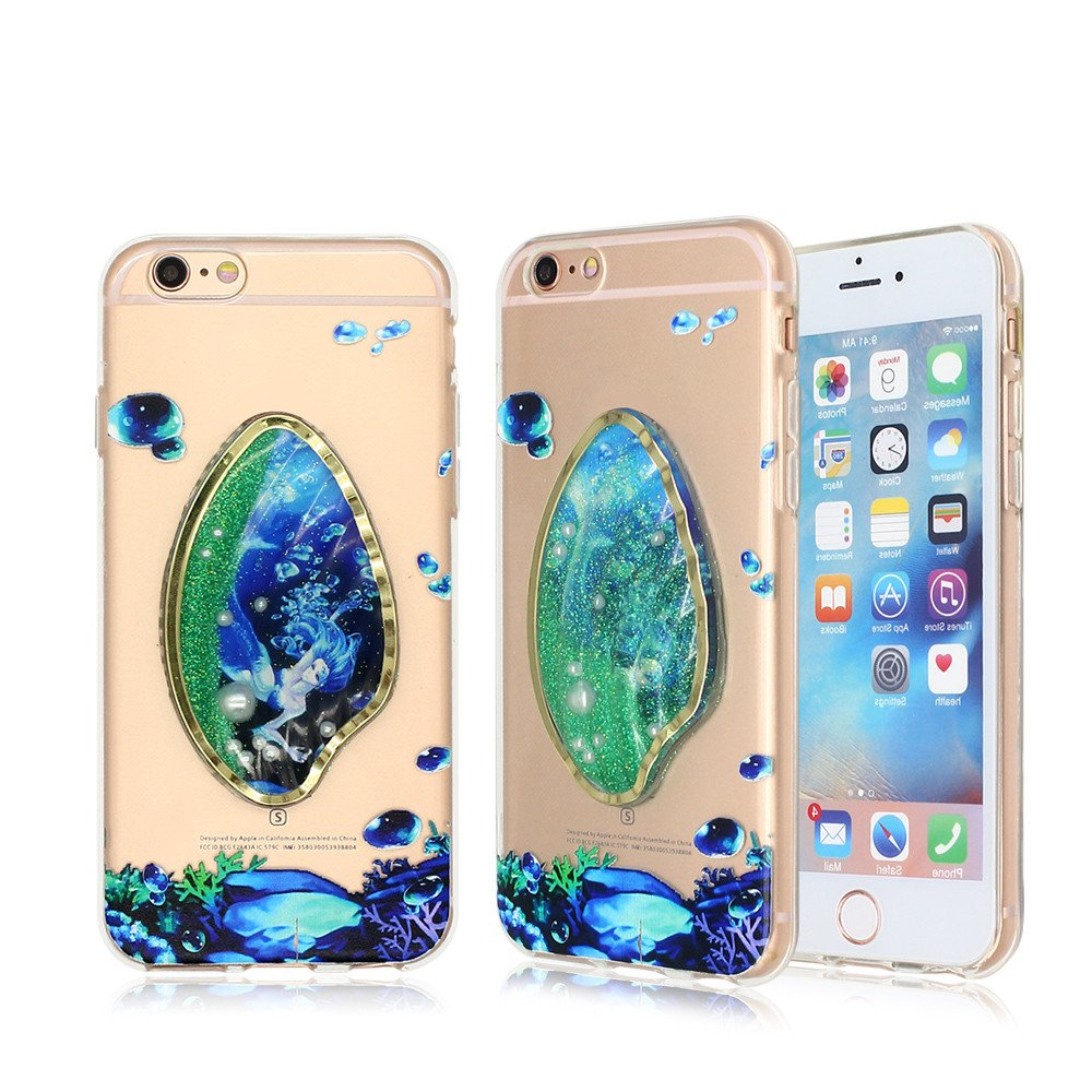 Clear iPhone 6 TPU Phone Case with Pretty Quicksand Component