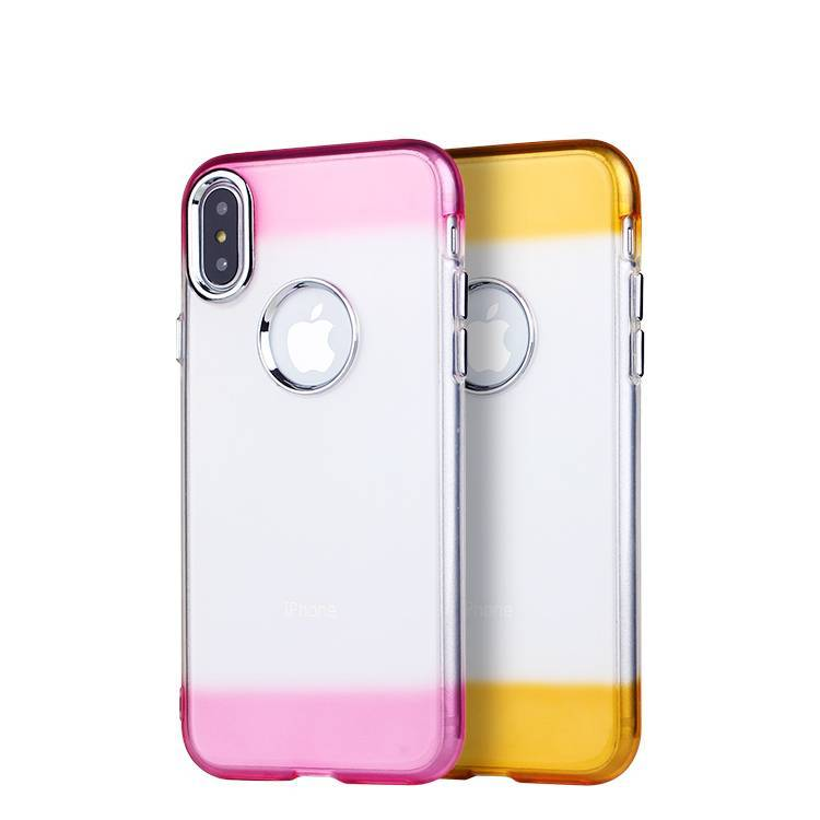 TPU Carcasa transparente de TPU con botón de galvanoplastia para iPhone X