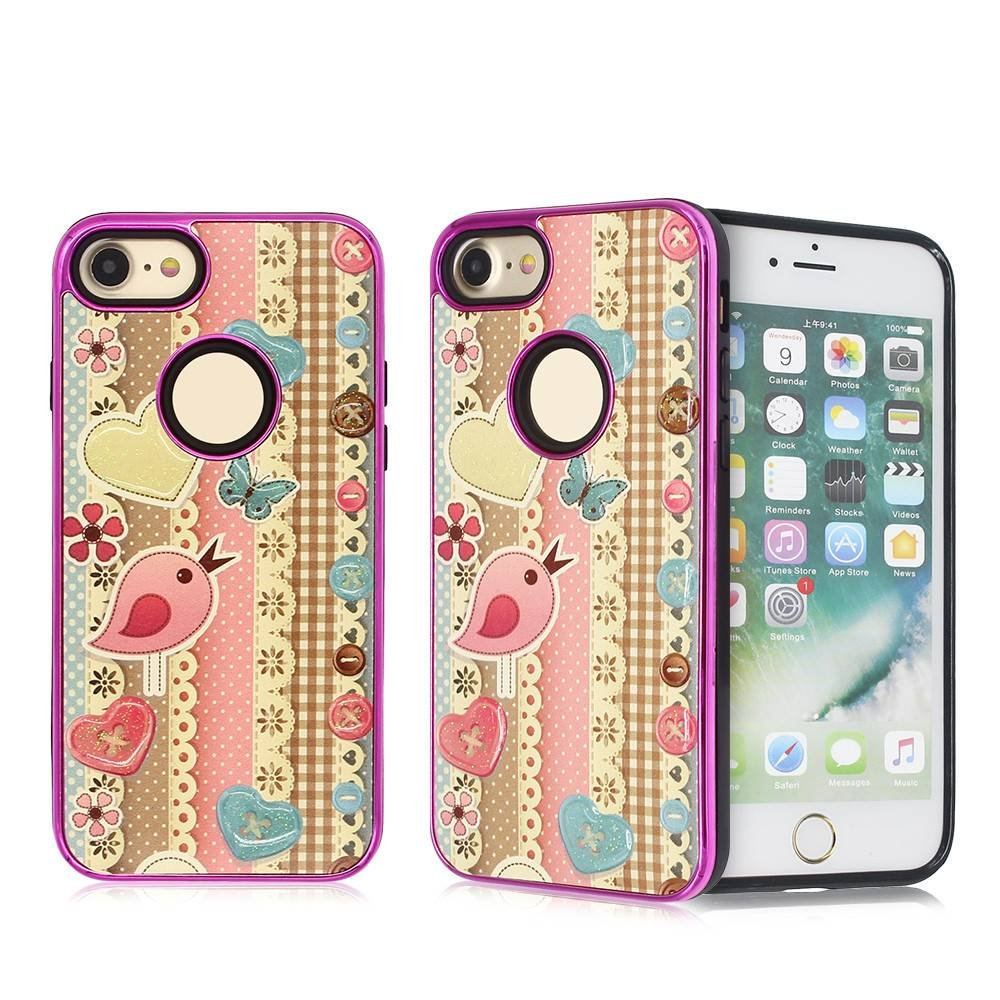 Colorful iPhone 7 TPU Combo Case with Drop Glue Decoration
