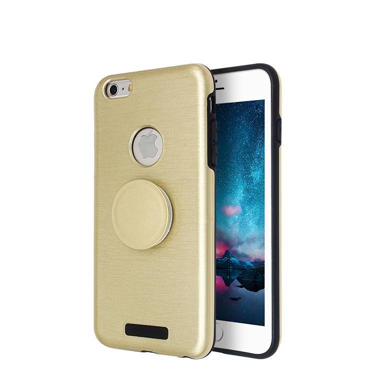 Brushed finishing Phone Case for iPhone 6 plus with popsocket