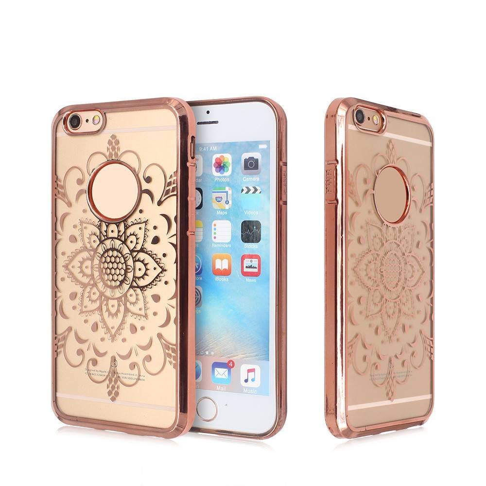 Electroplated Phone Case for iPhone 6 with Laser Curved Artworks