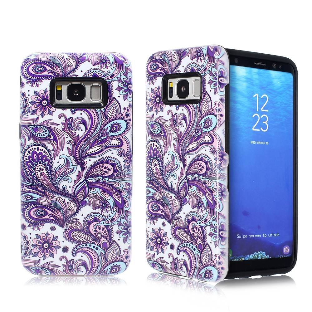 Embossed Protective Combo Case for Samsung S8 with Invisible Stand