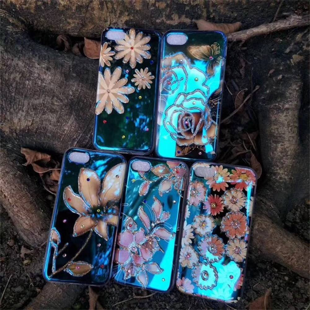 iPhone 7 Case Protective with Blue Light Image and Diamonds