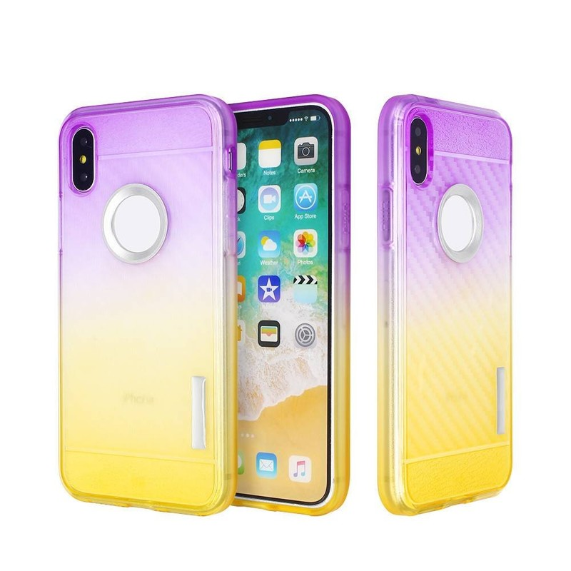 Color de degradado TPU iPhone X Case con ranuras de fibra de carbono