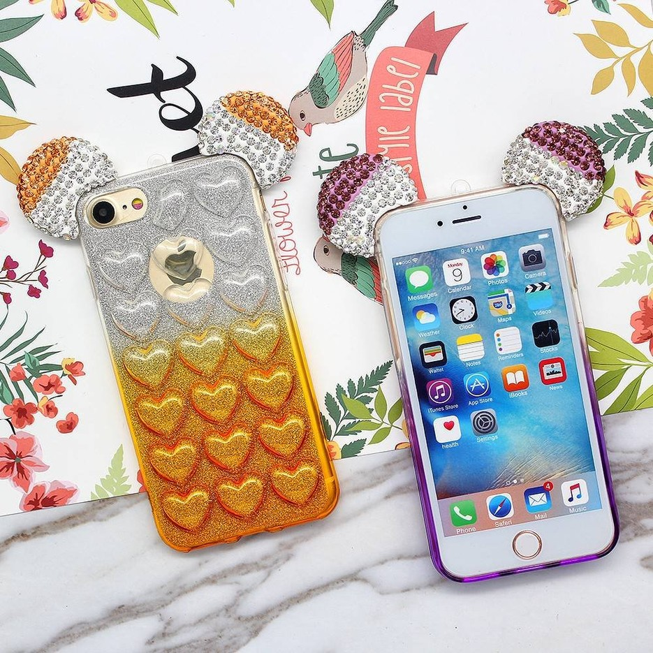 3D Glitter Mickey Mouse Ears Soft TPU Case for iPhone 7