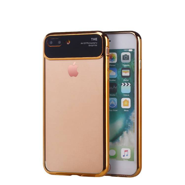 2 in1 clear case with metal camera protection lens