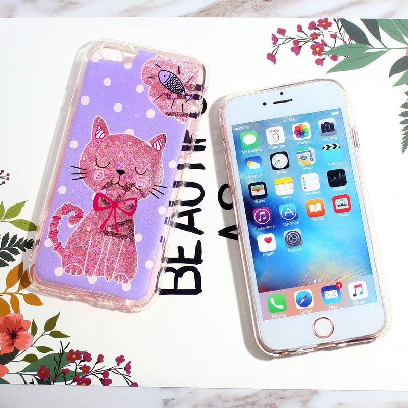 TPU iPhone 6 casos con la decoración de glittering pegamento agradable de pegamento