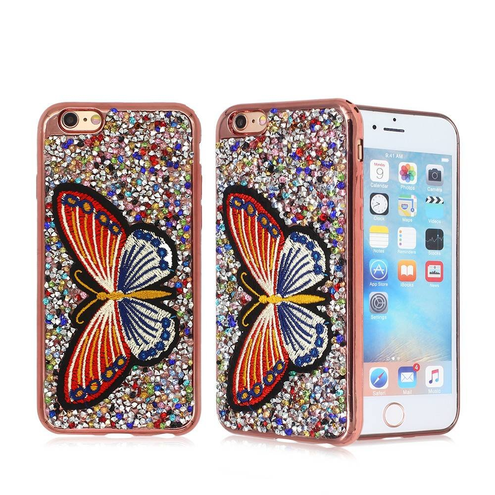 Diamond and Embroidery Decoration Electroplating iPhone 6 TPU Phone Case