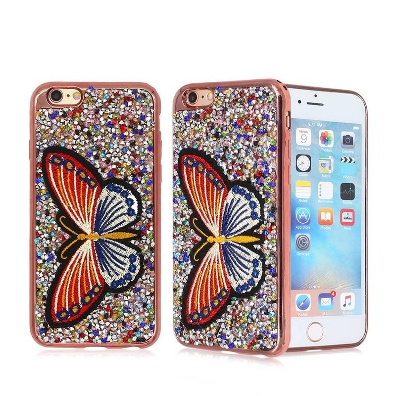 Diamante y bordado decoración electrochapado iPhone 6 TPU teléfono caso