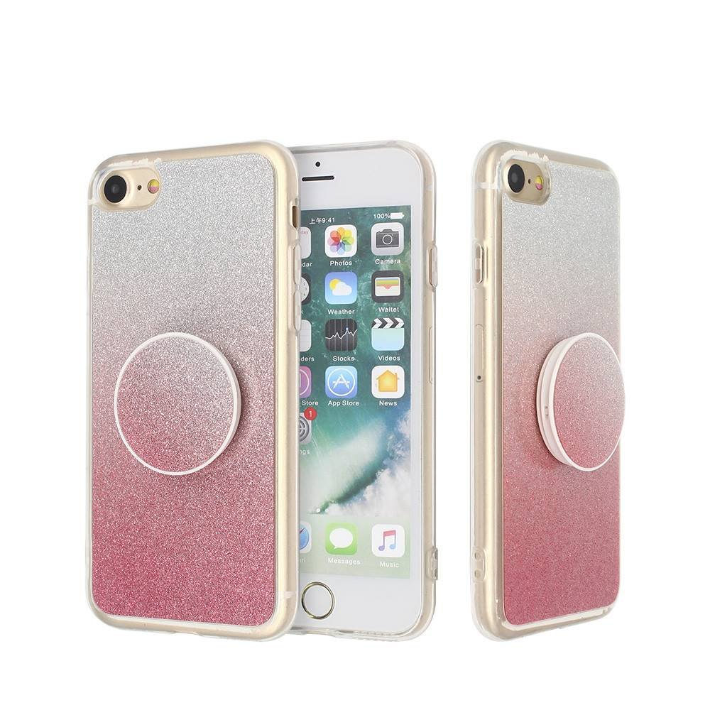 User-friendly Glittering iPhone 7 Clear Case with Popsocket