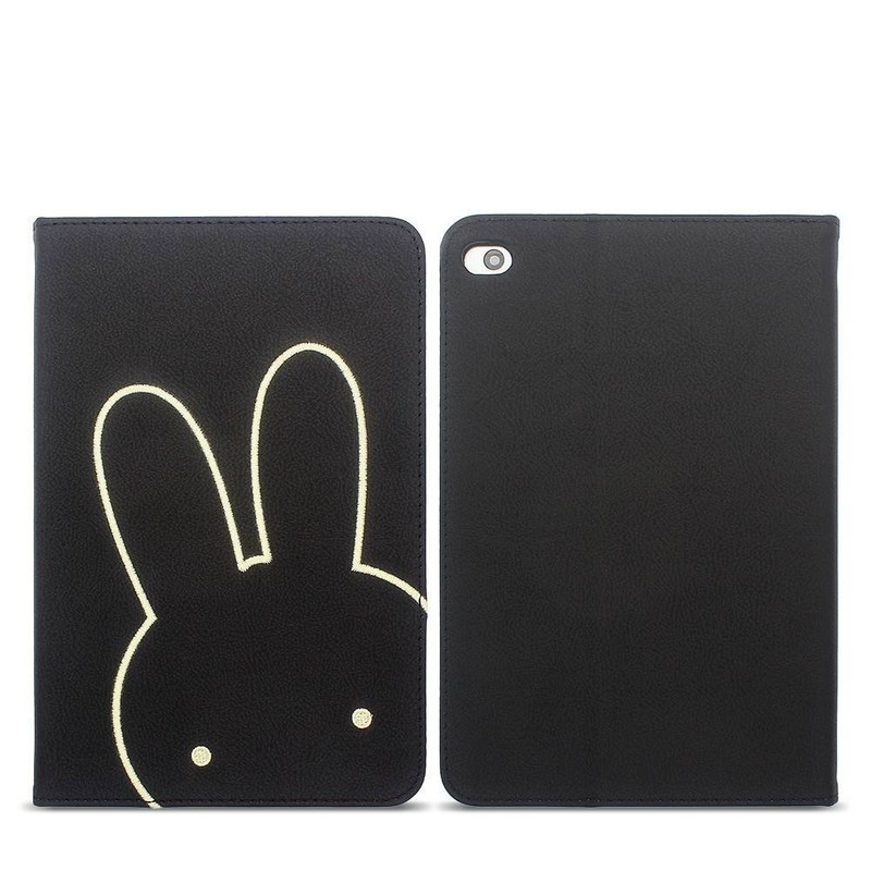 PU Leather iPad Case with Embeoidery Cartoon Decoration