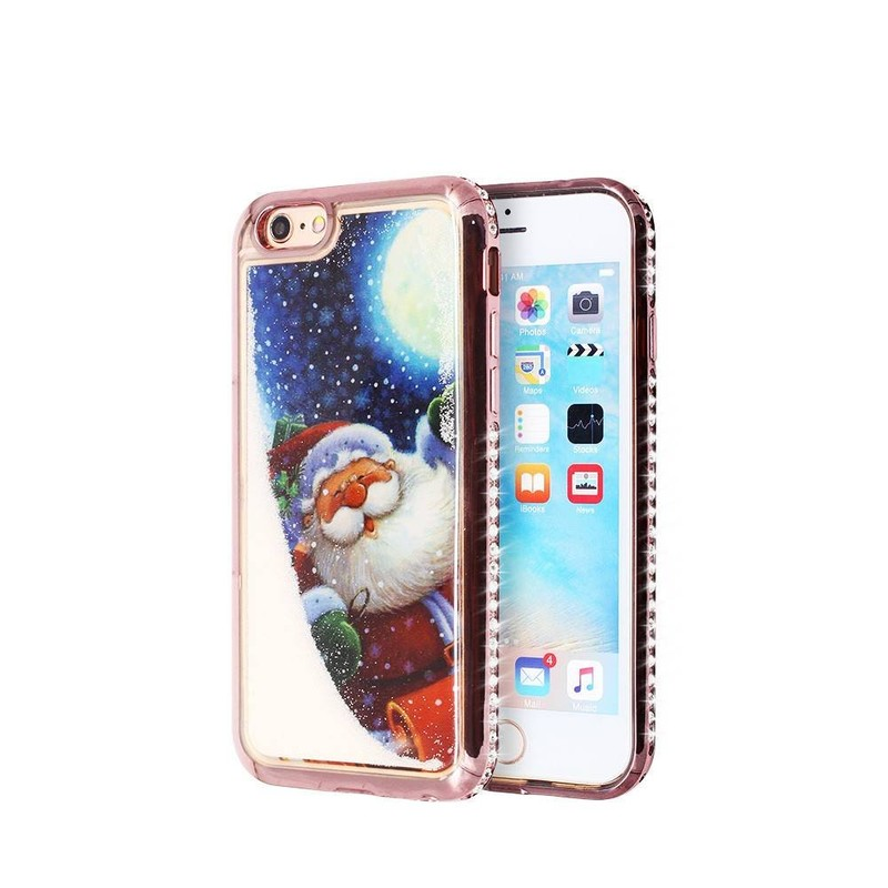 iPhone 6 liquid glitter Case with Electroplate and Diamond Bumper