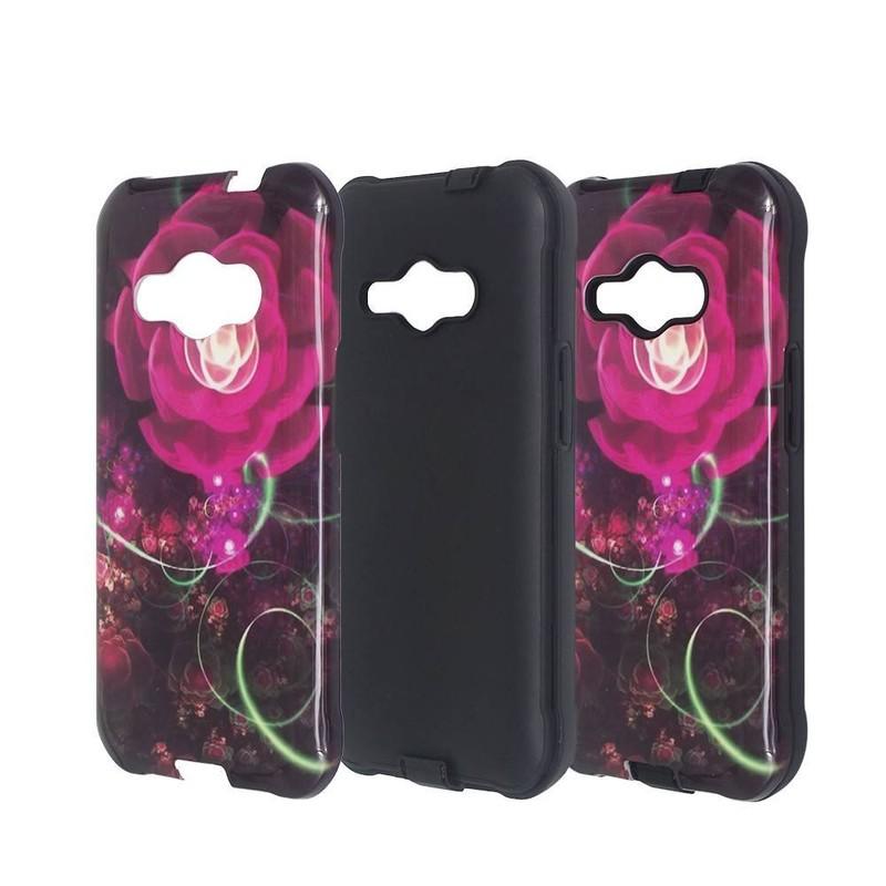 2in1 caja de teléfono brillante y protector para Samsung J1 ACE