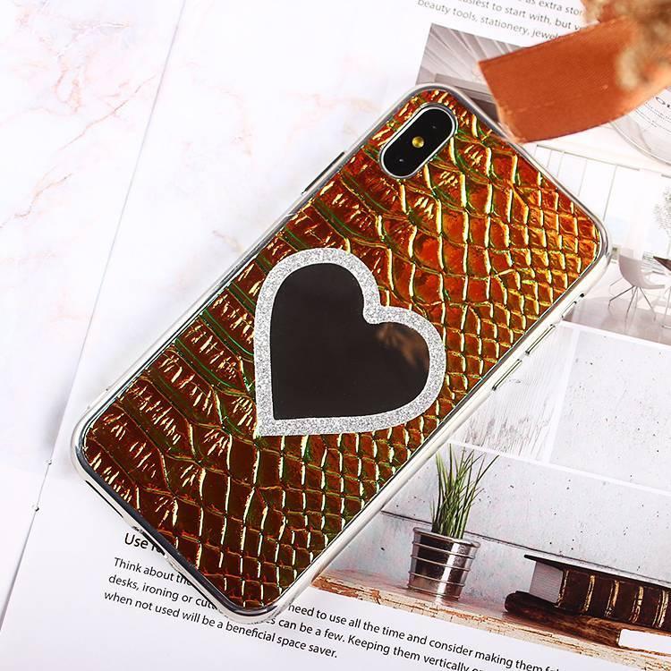 Bling chapado en cuero X iPhone pegatina con forma de corazón espejo