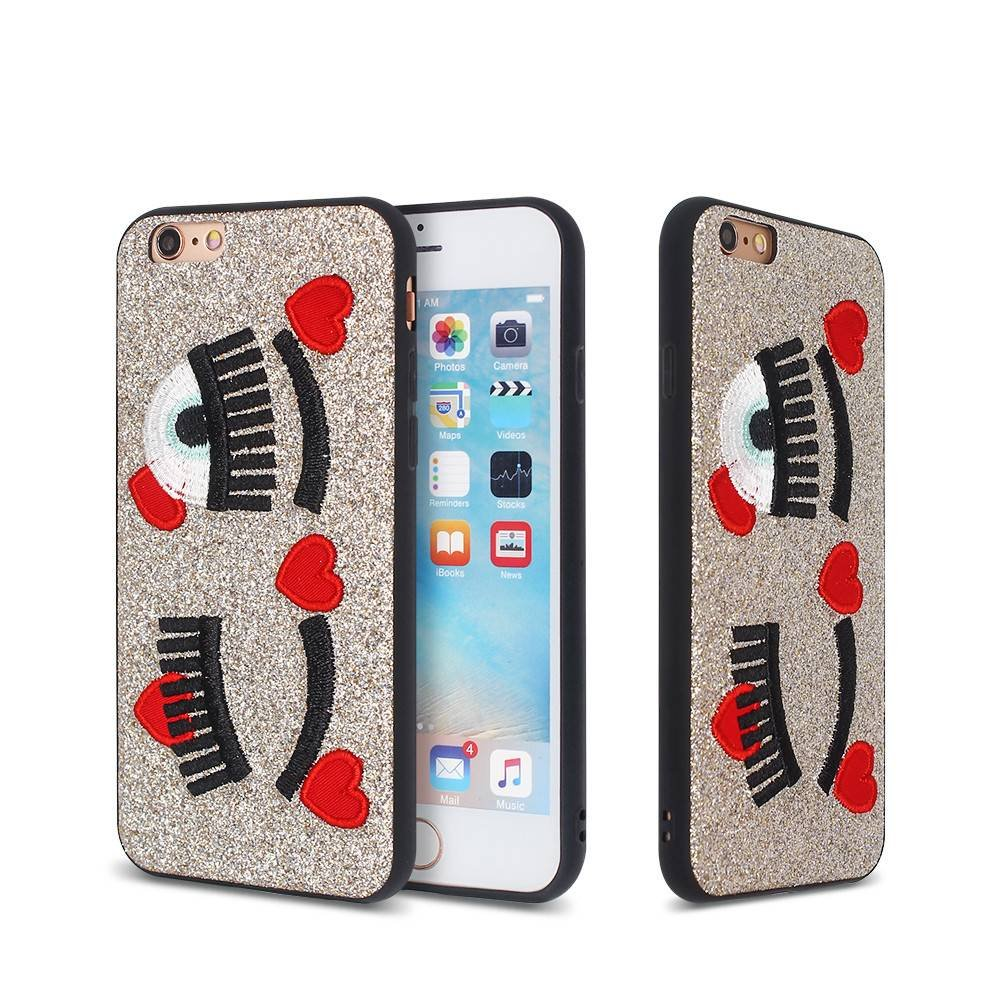 Glitter iPhone 6 Case with Embroidery Decoration and TPU Bumper