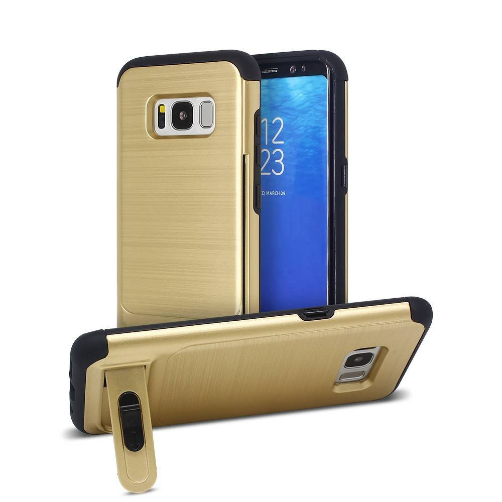Galaxy S8 Case with Wire Drawing Back and A Card Holder