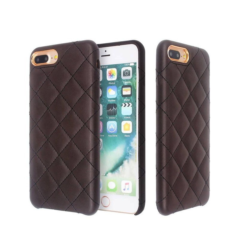 iPhone 7 Plus Slim Leather Case with Cross Grooves