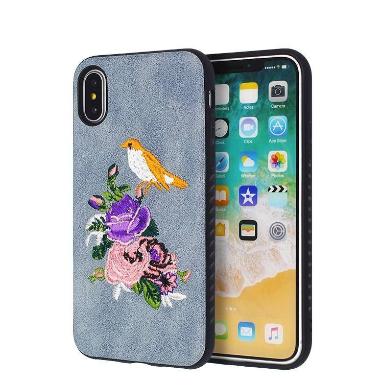 Beautiful Embroidery IPhone X Leather-Gluing Case Wholesale