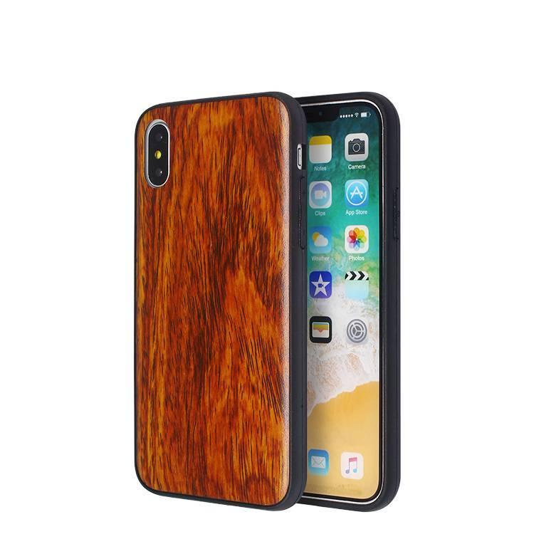 Caja de cuero de la etiqueta engomada del grano de madera para IPhone X al por mayor