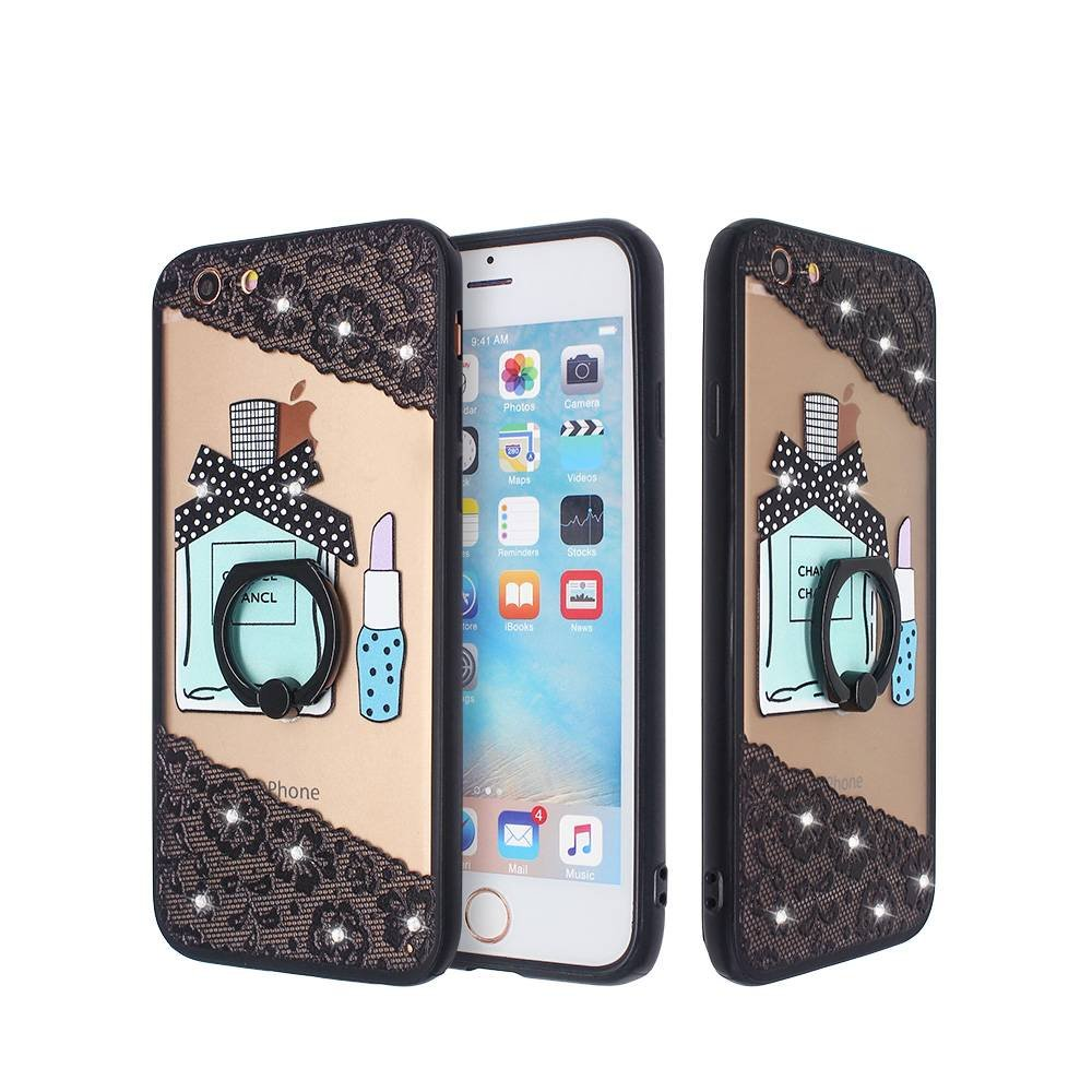 Emboss and Dull Polishing TPU Phone Case for iPhone 6 with Ring