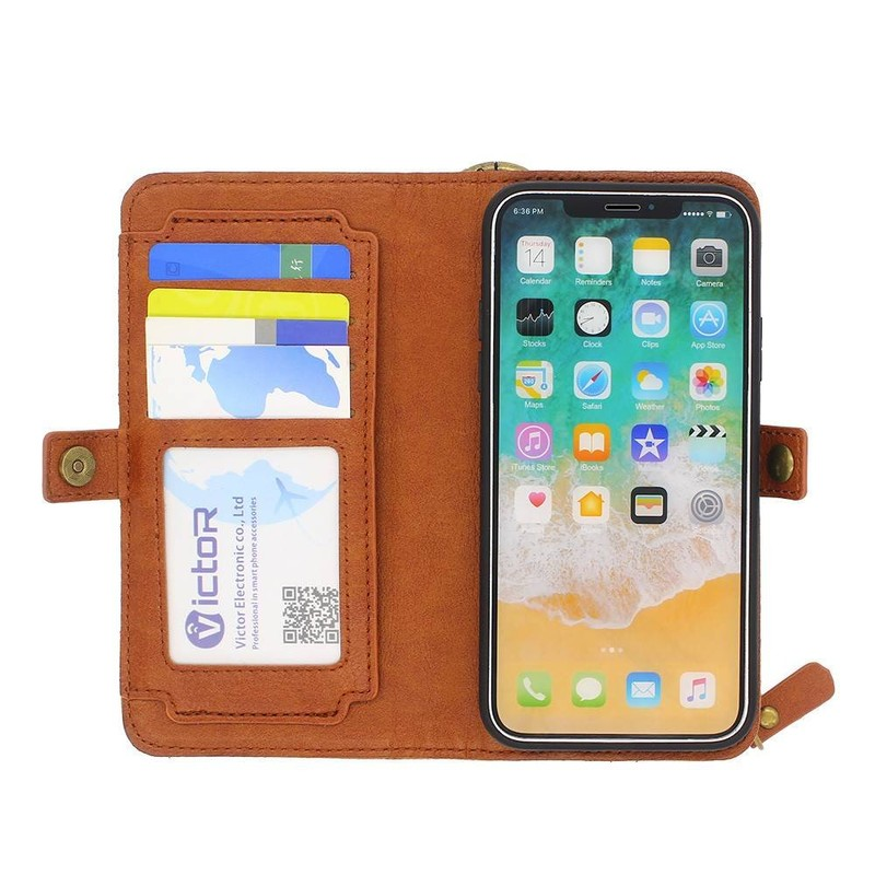 iPhone X Leather Case with Card Holders and Zipper Pocket